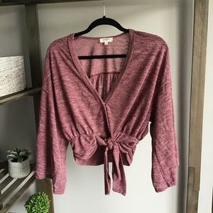 Umgee Maroon Wrap Tied Long Sleeve